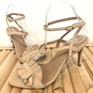 Klub Nico Suede Sandals Heels Nude Pink Ruffle 10
